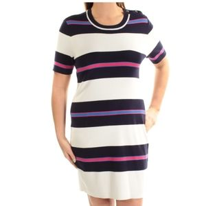 NEW women's navy ivory striped dress